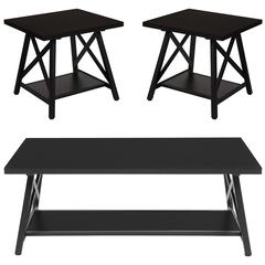 Hancock Park Collection 3 Piece Coffee and End Table Set in Rustic Espresso Wood Finish
