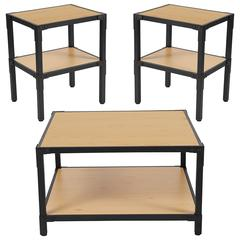 Holmby Collection 3 Piece Coffee and End Table Set in Knotted Pine Wood Grain Finish and Black Metal Legs
