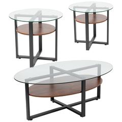 Princeton Collection 3 Piece Coffee and End Table Set with Glass Tops and Rustic Oak Wood Shelves