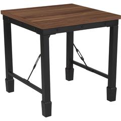 Brentwood Collection Rustic Walnut Finish Side Table with Industrial Style Steel Legs