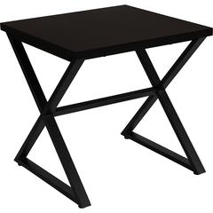 Larchmont Collection Espresso Wood Finish End Table with Contemporary Metal Legs