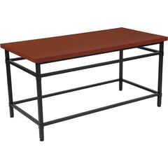 Granada Hills Collection Norway Cherry Inlaid Wood Grain Finish Coffee Table with Black Metal Legs