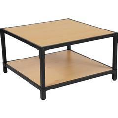 Holmby Collection Knotted Pine Wood Grain Finish Coffee Table with Black Metal Legs