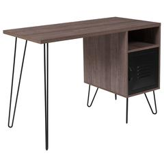 Woodridge Collection Rustic Wood Grain Finish Computer Desk with Metal Cabinet Door and Black Metal Legs
