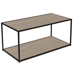 Midtown Collection Sonoma Oak Wood Grain Finish Coffee Table with Black Metal Frame