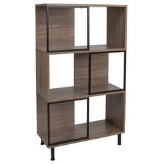 """Paterson Collection 26"""" x 45.25"""" Rustic Wood Grain Finish Bookshelf and Storage Cube"""