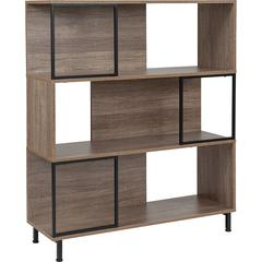 """Paterson Collection 39.5""""W x 45""""H Rustic Wood Grain Finish Bookshelf and Storage Cube"""