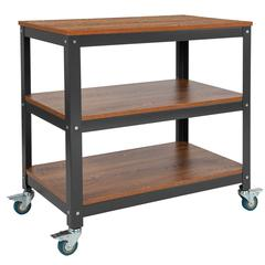 """Livingston Collection 30"""" x 30"""" Storage Cart in Brown Oak Wood Grain Finish with Metal Wheels"""