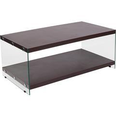 Wynwood Collection Dark Ash Wood Grain Finish Coffee Table with Glass Frame and Shelves