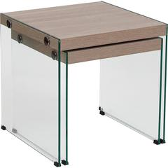 Weston Collection Natural Wood Grain Finish Nesting Tables with Glass Frame