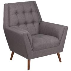 HERCULES Kensington Series Contemporary Gray Fabric Tufted Arm Chair