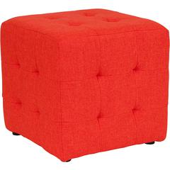 Avendale Tufted Upholstered Ottoman Pouf in Orange Fabric