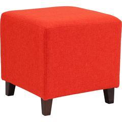Ascalon Upholstered Ottoman Pouf in Orange Fabric