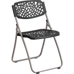HERCULES Fascination Series 661 lb. Capacity Black Plastic Folding Chair with Silver Frame