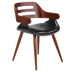 Contemporary Walnut Bentwood Side Reception Chair with Cross Stitched Black Leather Seat