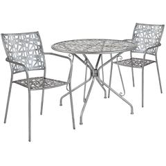 "Agostina Series 35.25"" Round Antique Silver Indoor-Outdoor Steel Patio Table with 2 Stack Chairs"