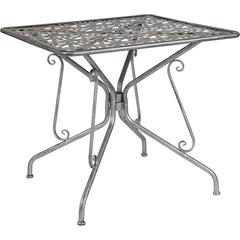 "Agostina Series 31.5"" Square Antique Silver Indoor-Outdoor Steel Patio Table"