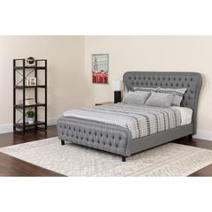 Cartelana Tufted Upholstered Queen Size Platform Bed with Silver Accent Nail Trim in Light Gray Fabric