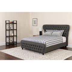 Cartelana Tufted Upholstered King Size Platform Bed with Silver Accent Nail Trim in Dark Gray Fabric