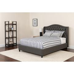 Valencia Tufted Upholstered Queen Size Platform Bed in Dark Gray Fabric