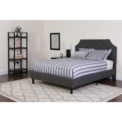 Brighton Full Size Tufted Upholstered Platform Bed in Dark Gray Fabric with Pocket Spring Mattress