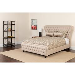 Cartelana Tufted Upholstered King Size Platform Bed in Beige Fabric and Gold Accent Nail Trim with Memory Foam Mattress