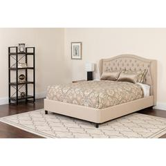 Valencia Tufted Upholstered King Size Platform Bed in Beige Fabric with Memory Foam Mattress