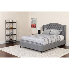 Valencia Tufted Upholstered Full Size Platform Bed in Light Gray Fabric with Memory Foam Mattress
