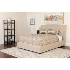 Barletta Tufted Upholstered Full Size Platform Bed in Beige Fabric with Memory Foam Mattress