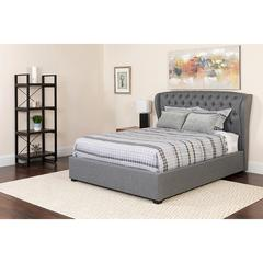 Barletta Tufted Upholstered Queen Size Platform Bed in Light Gray Fabric with Memory Foam Mattress