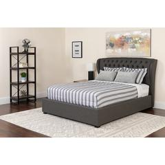 Barletta Tufted Upholstered Queen Size Platform Bed in Dark Gray Fabric with Memory Foam Mattress