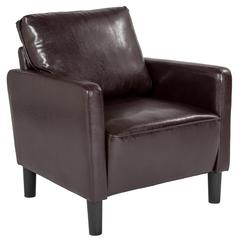 Washington Park Upholstered Chair in Brown Leather