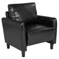 Candler Park Upholstered Chair in Black Leather