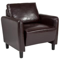 Candler Park Upholstered Chair in Brown Leather