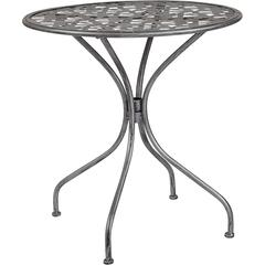 "Agostina Series 27.5"" Round Antique Silver Indoor-Outdoor Steel Patio Table"