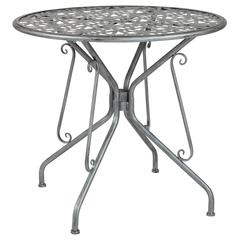 "Agostina Series 31.5"" Round Antique Silver Indoor-Outdoor Steel Patio Table"