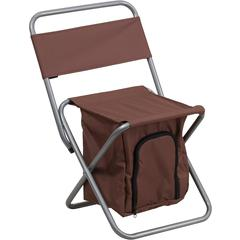 Folding Camping Chair with Insulated Storage in Brown
