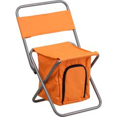 Folding Camping Chair with Insulated Storage in Orange