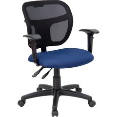 Mid-Back Navy Blue Mesh Swivel Task Chair with Back Height Adjustment and Adjustable Arms