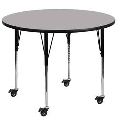 Mobile 48'' Round Grey Thermal Laminate Activity Table - Standard Height Adjustable Legs
