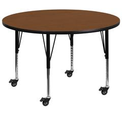 Mobile 48'' Round Oak HP Laminate Activity Table - Height Adjustable Short Legs