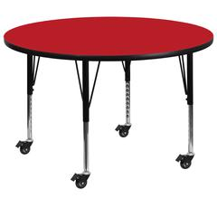 Mobile 48'' Round Red HP Laminate Activity Table - Height Adjustable Short Legs