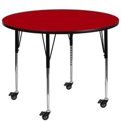 Mobile 48'' Round Red Thermal Laminate Activity Table - Standard Height Adjustable Legs