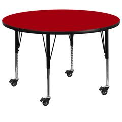 Mobile 48'' Round Red Thermal Laminate Activity Table - Height Adjustable Short Legs