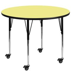 Mobile 48'' Round Yellow Thermal Laminate Activity Table - Standard Height Adjustable Legs