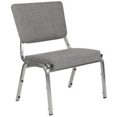 HERCULES Series 1500 lb. Rated Gray Antimicrobial Fabric Bariatric Chair with 3/4 Panel Back and Silver Vein Frame