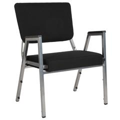 HERCULES Series 1500 lb. Rated Black Antimicrobial Fabric Bariatric Arm Chair with 3/4 Panel Back and Silver Vein Frame