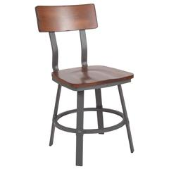 Flint Series Rustic Walnut Restaurant Chair with Wood Seat & Back and Gray Powder Coat Frame