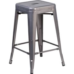 24'' High Backless Clear Coated Metal Indoor Barstool with Square Seat
