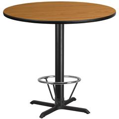 42'' Round Natural Laminate Table Top with 33'' x 33'' Bar Height Table Base and Foot Ring